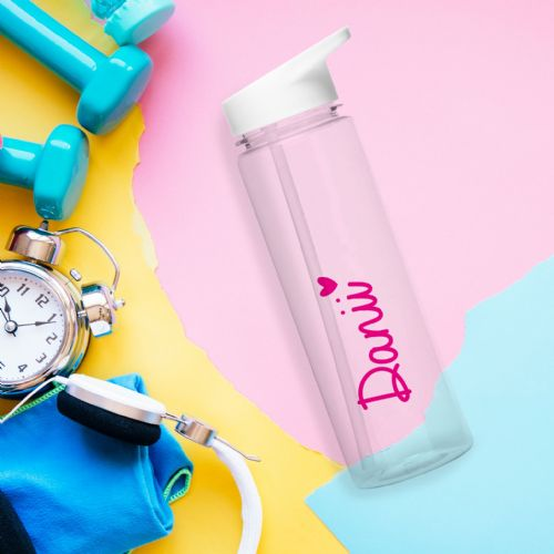 Personalised Pink Heart Love Island Water Bottle